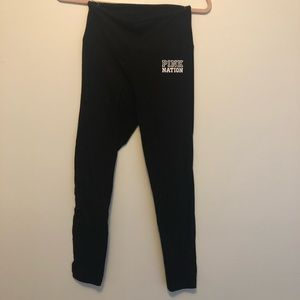 Thing black 7/8 length PINK leggings